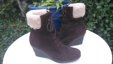 ROBERTO VIANNI SUEDE WEDGED ANKLE BOOTS.FAUX FUR TRIM.