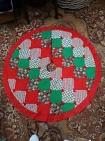 """Christmas Tree Skirt Handmade Large 46"""" Quilted Patchwork Lined Ruffles"""