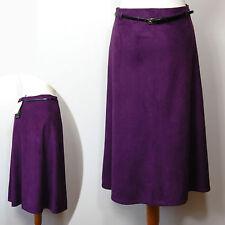 Nouveau m&s classic en daim synthétique long, a-line jupe avec ceinture ~ taille 10 ~ violet