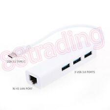 3 USB Port + RJ45 Gigabit Ethernet Type C 3.0 Adapter for Apple New MacBook 12