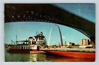 Saint Louis MO, Riverfront, Gateway Arch, Barge, Chrome Missouri c1968 Postcard