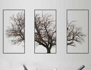 "NEW 36"" x 24"" 3 Piece Set Bare Tree Large Vinyl Wall Art Decor Decal Stickers"