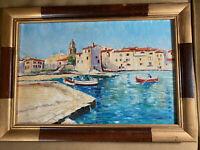 "Vintage Dresche 1959 ""A Port Scene"" Oil On Board Painting - Signed And Framed"