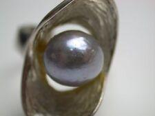Design Ring mit einer grauen großen Perle Modernist Silber 835 antik