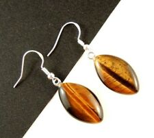 Natural Tigers Eye Gemstone Fashion Earrings & 925 Sterling Silver Hooks #1666