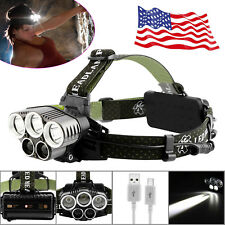50000LM 6Modes T6 LED Headlamp USB Rechargeable Headlight Torch Lamp 18650+Cable