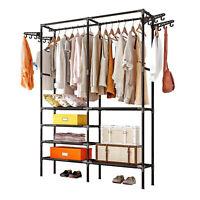 Closet Organizer Shelves Garment Kit Shelf Black Clothes Storage Rack Hanger-USA