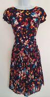 Womens Tommy Hilfiger Blue Floral Split Shoulders Zip Detail Pleated Dress Size4
