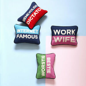 NEW JONATHAN ADLER 'Work Wife' NEEDLEPOINT personality PILLOW / CUSHION RRP £98