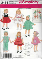 "Simplicity 2454 Retro Clothes 16- 18"" Doll Sewing Pattern Dress Slip Panties Top"
