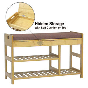 """35"""" Large 3-Tier Natural Bamboo Shoe Rack Bench Organizer with Cushion on Top"""