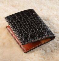 Handmade Real Alligator ,Crocodile Leather Skin Men's Mini Wallet Double Side
