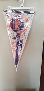 NEW YORK METS 1986 WORLD SERIES BASEBALL FELT PENNANT WITH HOLDER 4/18/21