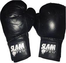 Slam Man Pro Black Boxing Gloves Used w/ Adjustable Wrist Wraps