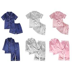 Pajamas Kid Unisex Pjs Set Girls Boys Silk Pajamas Set Satin Long Sleeve 2 Piece Clasic Sleepwear for 2-12 Years Todder