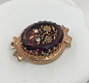 Victorian Gold Tone Amethyst Flower Pin Brooch