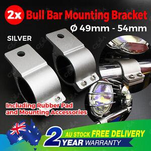 Pair 2'' Bullbar Mounting Bracket Clamp Silver 49 54mm LED Work Light Bar UHF