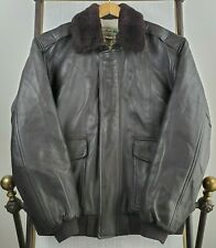 VTG LL BEAN Mens XL Brown Goat Leather Shearling Bomber Jacket Flying Tiger A-2