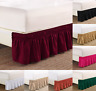 "NEW 1PC ELASTIC ALL AROUND STYLE BEDDING DRESSING BED SOLID SKIRT 14"" DROP FULL"