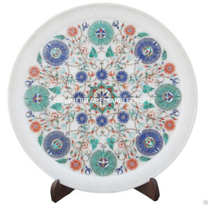 """13"""" Marble Dish Plate Micro Mosaic Art Inlay Marquetry Decor Columbus Day Gifts"""