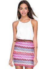 BNWT Topshop Motel Rocks High Waisted Zig Zag Skirt Size S 8 10 Festival Missoni
