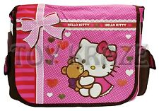 "HELLO KITTY MESSENGER! PINK & BROWN TEDDY BEAR SCHOOL SHOULDER BAG 16"" NWT"