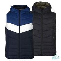New Mens Vest Jack&Jones Bodywarmer Gilet Hooded Puffer Navy Blue White Asphalt