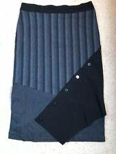 TS14+ SZ 18 STRIPED SHADES OF GREY/BLACK STRIPE PANELLED PULL ON STRETCH SKIRT