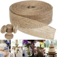 Retro Natural Burlap Lace Rustic Jute Garland Hessian Ribbon Roll Wedding Decors