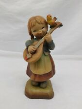 """Anri Carved Wood Figure Girl With Lute & Bird 804/2250 Numbered 6 1/2"""""""