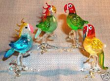 PARROT MAKAW COCKATOO ARTGLASS figurines COLORFUL TROPICAL BIRDS 4 PC. LOT