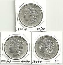 3 Coin Lot___MORGAN SILVER DOLLARS__1882-P__1886-P__1889-P__XF-AU-BU___#1033LB17