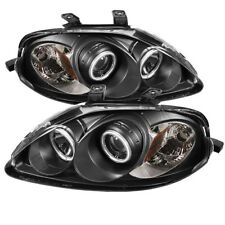 Fit Honda 99-00 Civic Black CCFL Dual Halo Projector Headlights w/ Amber Lamp
