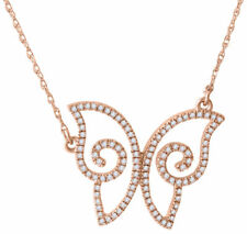 Diamond Butterfly Pendant 14K Rose Gold Ladies Fashion Charm Cable Chain 1/5 CT.