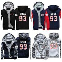 Kpop BTS Bangtan Boys Fleece Hoodie Jacket SUGA Jimin V Full Zip Sweatshirt Coat
