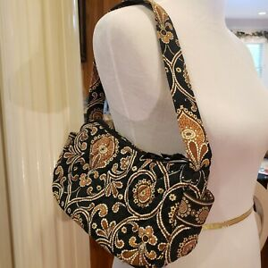 "Vera Bradley Bag Purse Cafe Latte Black And Brown 9"" Shoulder Bag Purse EUC"
