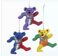 THE GRATEFUL DEAD DANCING BEARS BEAR CHRISTMAS ORNAMENT SET OF 3 NEW hippies