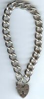 WEIGHTY VINTAGE STERLING SILVER CHARM BRACELET WITH LOCK CHARM CLASP