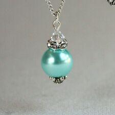 Aqua blue vintage pearl silver rhinestone wedding bridesmaid bridal necklace