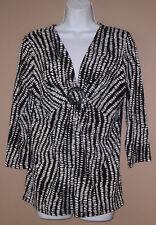 Womens Size Medium 3/4 Long Sleeve Fall Fashion Black Patterned Blouse Top Shirt