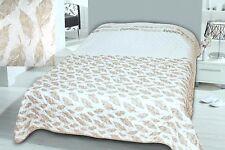 XXL gesteppter Bettüberwurf / Sofaüberwurf 220x240 Federn ecru / beige hellbraun