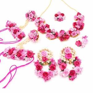 Indian Women Floral Necklace Set Mehandi Haldi Baby Shower Jewelry Flower Gift