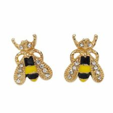 New Wasp Bee Insect Summer Yellow Enamel Party Earrings Stud Jewellery Gift Bag