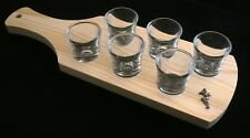Rugby Player Set of 6 Shot Glasses with Wooden Paddle Tray Holder 306