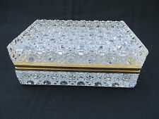 Vintage French Clear Ormolu Crystal Hinged Trinket Box Jewelry Casket 7""