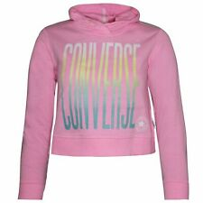 Converse Junior Girls Ombre Cropped Hoodie Sweatshirt Pink 466724 A88