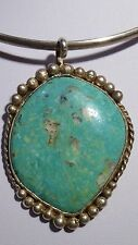 Navajo Turquoise Pendant Silver Native American Large Sterling Silver Singed PC