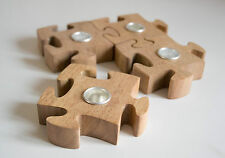 Parlane Wooden Jigsaw Piece Shaped Table Decoration Centrepiece Candle Holder x4