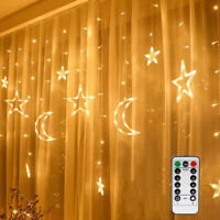 Christmas Light LED Window Curtain Star Moon String Fairy Lights with Remote NEW