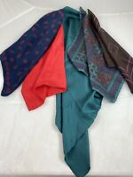 Mixed Color Lot of 5 Silk Men's Pocket Squares Scarves 100%  Silk Hand Rolled
